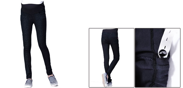 Motherhood Black Leopard Prints Autumn Elastic Waist Skinny Patch Pants S