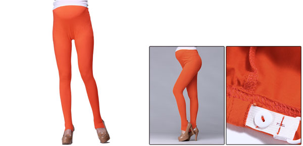 Autumn Stretch Button Adjust Waistband Orange Anchored Leggings For Motherhood XS