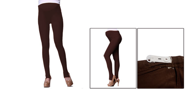 Autumn Coffee Color Thin Stretch Slimming Anchored Leggings For Maternity XS