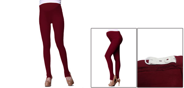 Autumn Custom Fit Stretch Adjust Waistband Burgundy Foot Tights For Maternity XS