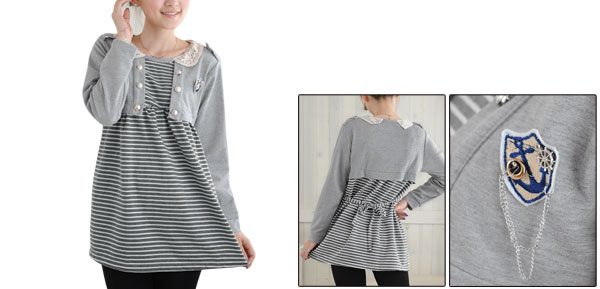 Long Sleeve Gray White Stripes Scoop Neck Pullover Blouse M For Motherhood