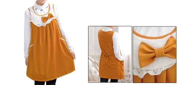 Knot Upper Scoop Neck Side Pockets Yellow Pullover Dress For Motherhood L