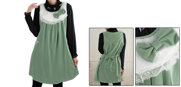 Pregnancy Fleece Front Bowknot Decor Scoop Neck Sleeveless Dress Dusty Green L