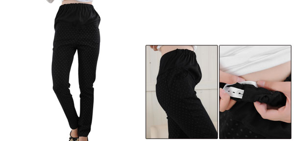 Motherhood Rib Detail Button Elastic Waistband Seam Pockets Black Dots Pants Xs