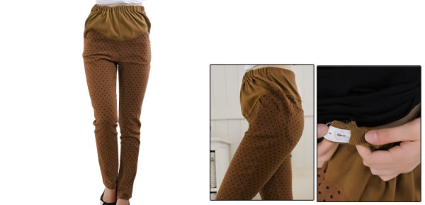 Maternity Adjustable Waistband Side Pockets Dots Print Skinny Pants Xs Brown