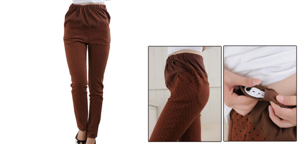 Pregnancy Stretch Dots Pattern Elastic Waistband Trousers Xs Rust Color