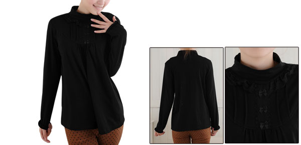 Pregnancy Woman Lace Decor Mock Neck Long Sleeve Loose Top M Black