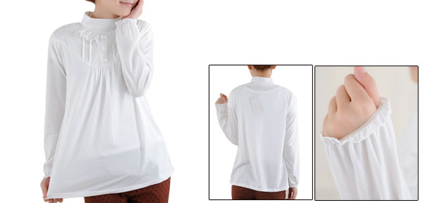 Motherhood Long Sleeve Pullover Ruched Detail Bowknot Front White Blouse M