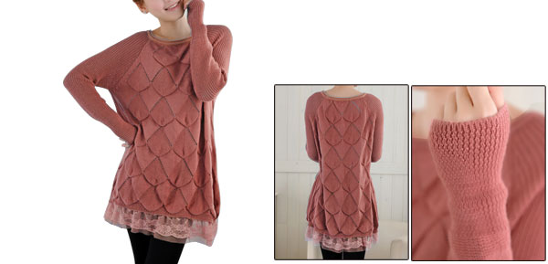 Round Neck Long Sleeve Lace Bottom Dark Coral Pink Shirt For Pregnancy Women S