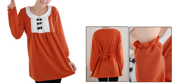 Knot Upper Pregnancy Women Long Sleeve Scoop Neck Orange Shirt Tops S
