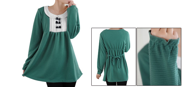 Motherhood Pullover Long Sleeve Doll Collar Rib Loose Blouse S Dusty Green