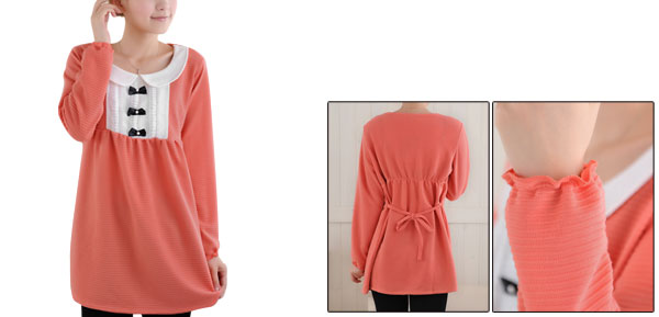 Maternity Pullover Long Sleeve Doll Collar Self String Blouse S Coral Pink