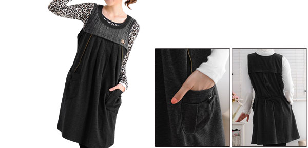 Metal Bear Detail Knit Upper Scoop Neck Dark Gray Motherhood Loose Dress M