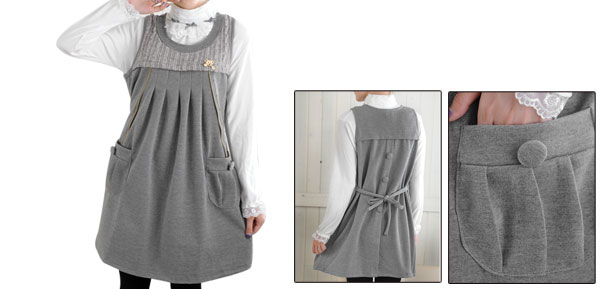 Spring Zipped Detail Ruched Design Light Gray Self String Pregnancy Dress M