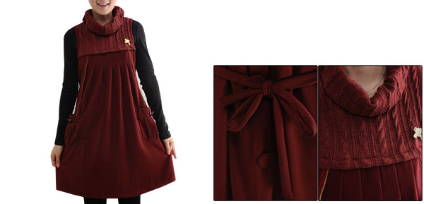 Motherhood Metal Bear Embellished Two Pocket Button Decor Dress S Burgundy
