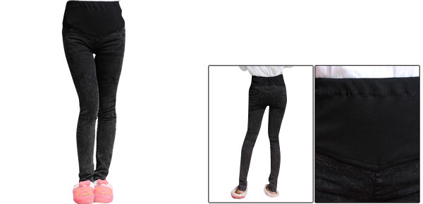 Maternity Elastic Knitting Waist Panel Black Washed Skinny Denim Pants XS