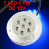 4 Pcs Round White 7 LED Car Wheel Hub Cap Lights Lamps Decor DC 1...
