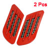 Pair Red Plastic Frame Oval Print Adhesive Trucks Car Air Flow Fe...
