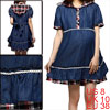 Maternity Dark Blue Plaids Pattern Patch Two Layers Short Sleeve Hoodie Dress M