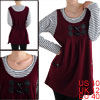 Scoop Neck Two Front Pockets Autumn Burgundy Stripe Prints Mother...