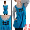 Maternity Scoop Neck Bracelet Sleeve Pullover Blue Fake Two Piece Flare Dress M