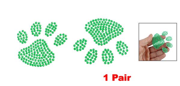 Solid Green Plastic Rhinestone Footprint Shaped Truck Car Sticker Decal