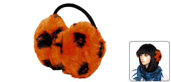 Ladies Orange Black Soft Plush Earlap Winter Ear Warmer Back Earmuffs