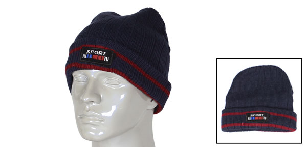 Man Winter Outdoor Sport Letters Ribbed Elastic Dark Blue Knitted Beanie Cap Hat