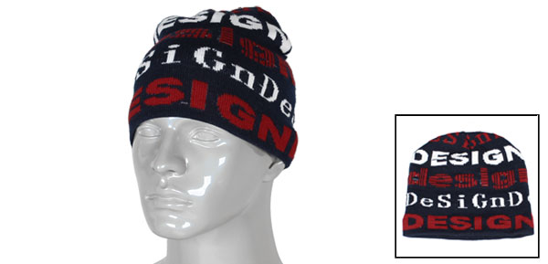 Man Winter Skating Letters Pattern Blue Acrylic Elastic Beanie Cap Hat