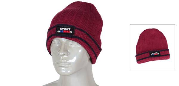Men Stripe Pattern Black Burgundy Cable-knit Winter Warmer Beanies Hat Cap