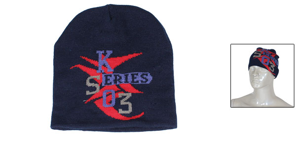 Letters Pattern Navy Blue Knitted Winter Warmer Beanies Hat Cap for Men