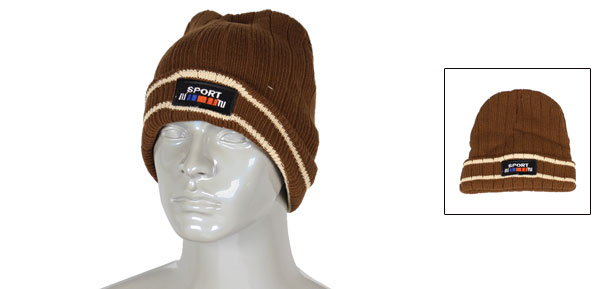 Beige Stripe Pattern Coffee Color Cable-knit Winter Warmer Beanies Hat Cap