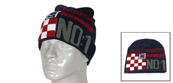 Men Grid Letters Pattern Blue Knitted Beanie Cap Winter Warmer Hat