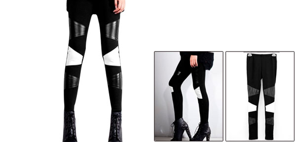 Ladies Black Elastic Waist Casual Faux Leather Patchwork Leggings Xs