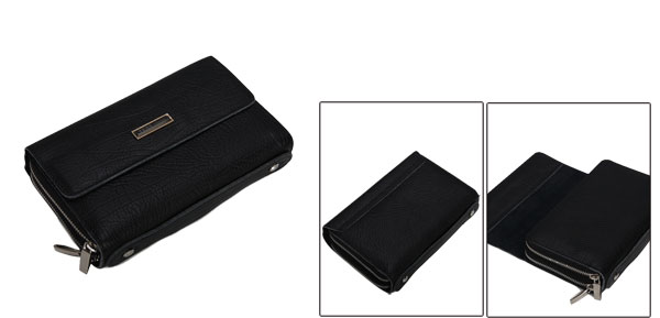 Fashion Magnetic Fold Over Two Zippered Compartment Design Mens Black Clutch Bag