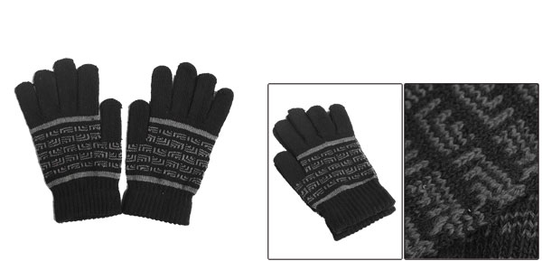 Korea New Fashion Stretch Novelty Pattern Knitting Black Gloves For Mens