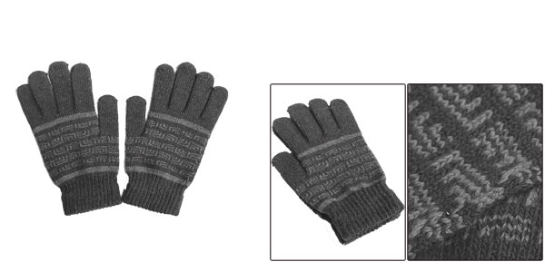 Winter New Fashion Full Fingers Warm Dark Gray Knitting Gloves For Mens