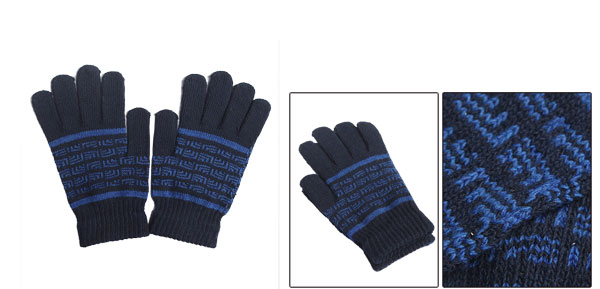 Mens Winter Novelty Pattern Knit Decor Wrist Length Blue Warm Gloves