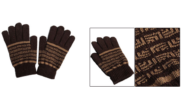 Korea Stylish Novelty Prints Coffee Color Stretch Knitting Gloves For Mens