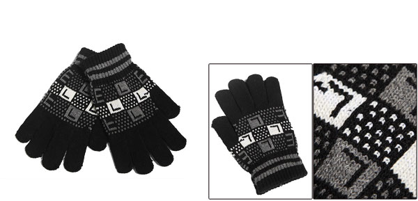 Winter New Fashion Full Fingers Wrist Length Knitting Black Gloves For Mens