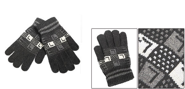 Winter Dark Gray Stripe Trimed Ribbed Wrist Full Fingers Knitting Mens Gloves