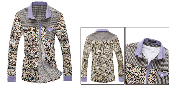 Mens Spring New Fashion Point Collar Leopard Pattern Prints Beige Blue Shirt M