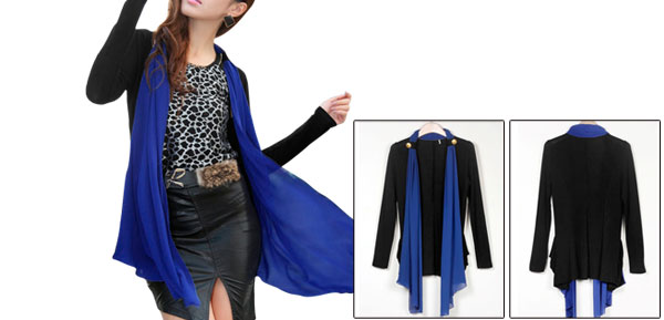 Ladies Black Chiffon Patchwork Pockets Decor Casual Light Coat Xs