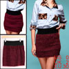 Ladies Claret Red Black Elastic Waist Casual Plush Detail Skirt X...