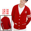 Two Stripes Detail Long Sleeve Button Front Red Cardigan For Man ...