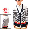 Mens Horizontal Stripes Design Long Sleeve Dark Blue White Knitwe...