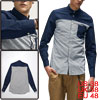 Mans Stripes Patchwork One Pocket Front Button Down Dark Blue Cas...
