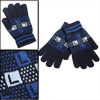 Winter Stylish Blue Letter Prints Knit Full Fingers Blue Warm Gloves For Mens