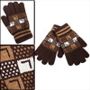 Korea Winter New Fashion Letter Prints Knit Details Mens Coffee Color Full Fingers Gloves