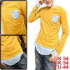 Mens Long Sleeve Pullover Casual Yellow Layered Design Shirt S